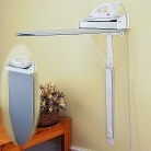 Wall mounted ironing board with basic dry iron and wall bracket