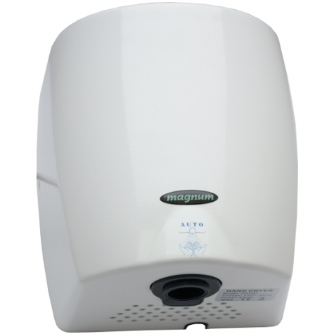 Magnum Blue Lightning warm air hand dryer in white