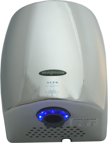Magnum Blue Lightning hand dryer in chrome